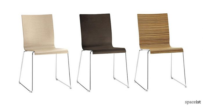 kuadra wood veneer cafe chairs