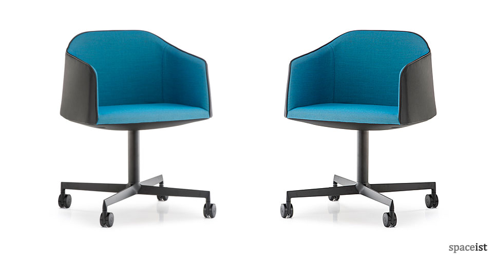 laja blue office desk chair on castors