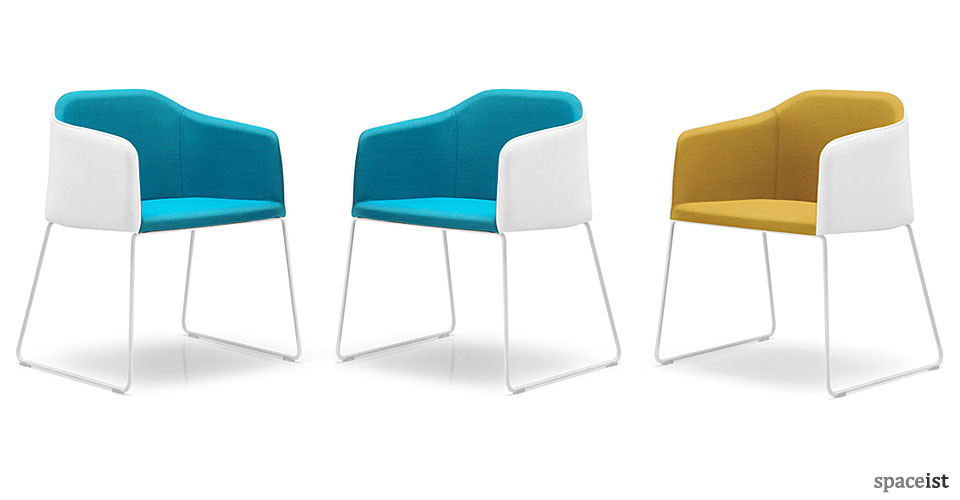 laj blue and yellow sled meeting chair