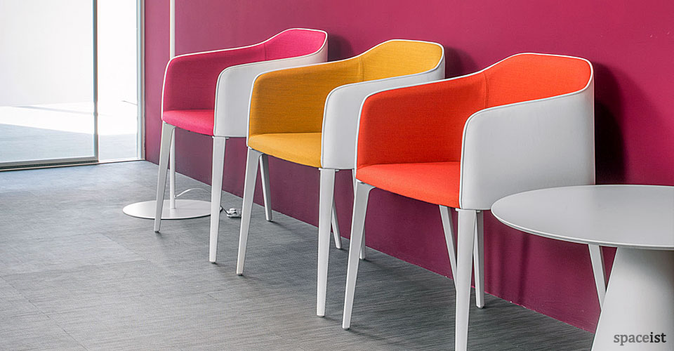 laj red, pink and blue meeting room chair