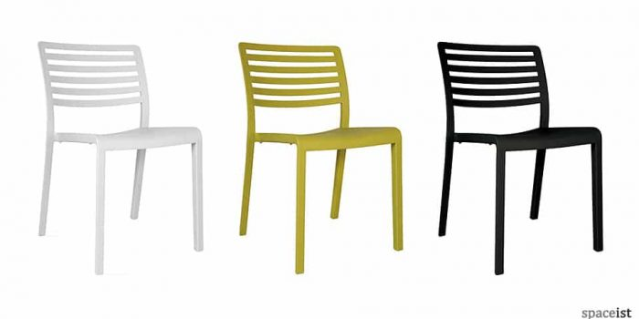 Lama olive, white and black outdoor cafe chair