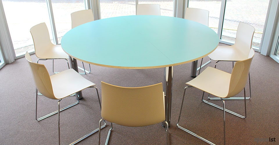 large colour round blue meeting tables