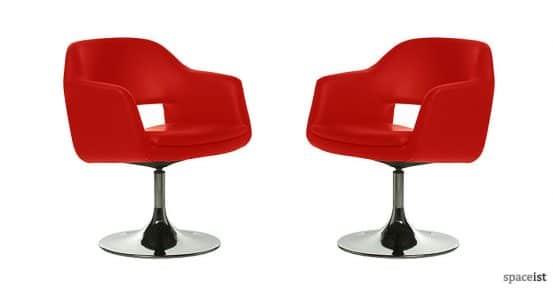 largo red faux leather reception chairs