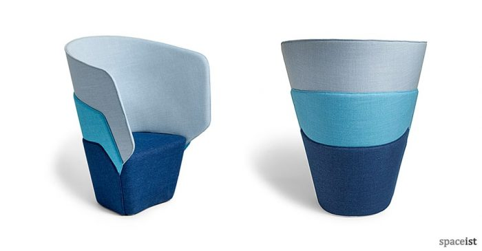 Layer high back blue reception chair