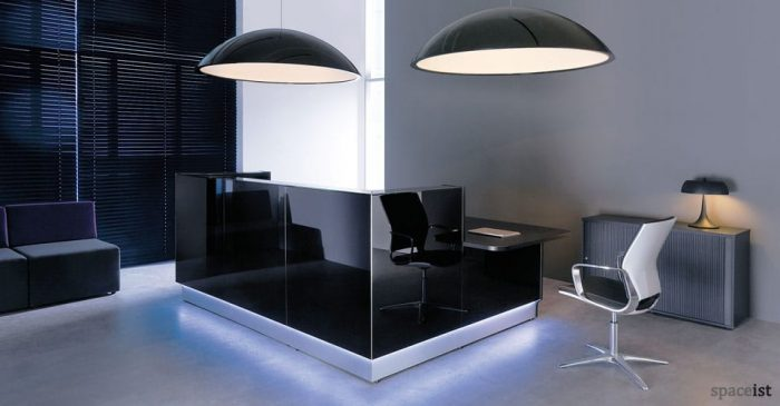 Lina black glass reception desk