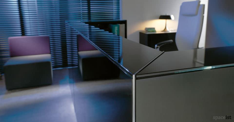 Lina black glass reception desk