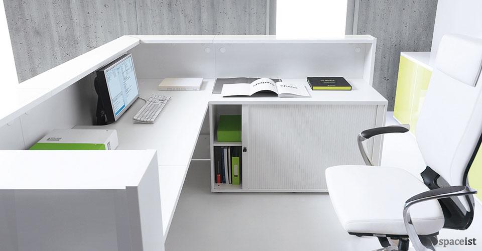 lina white glass reception desk
