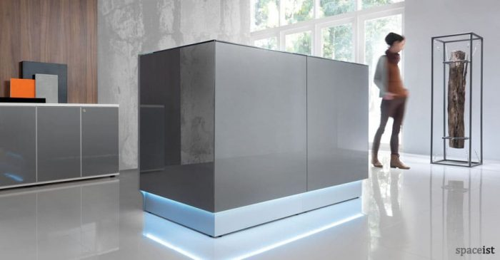 Designer silver glass reception desk