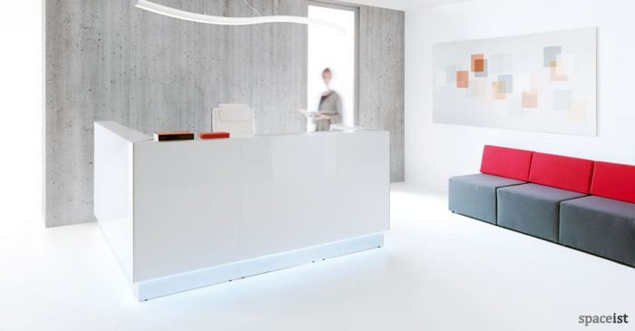lina white glass reception desk