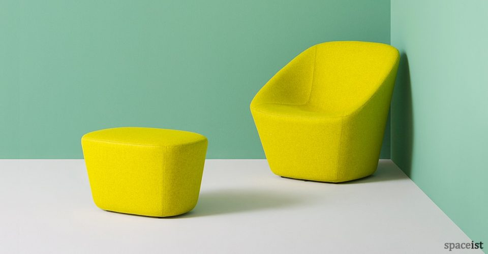Log wide reception chair in yellow