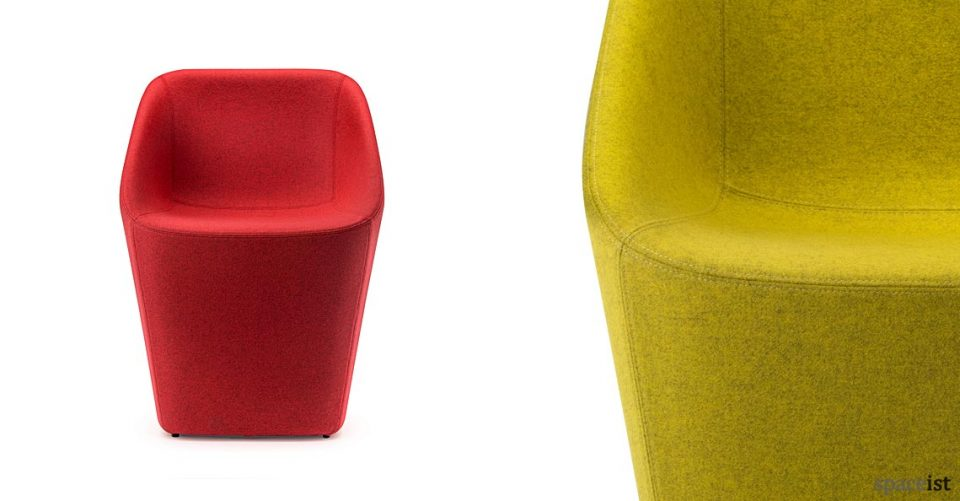 Log tub style reception chair in red, yellow and grey