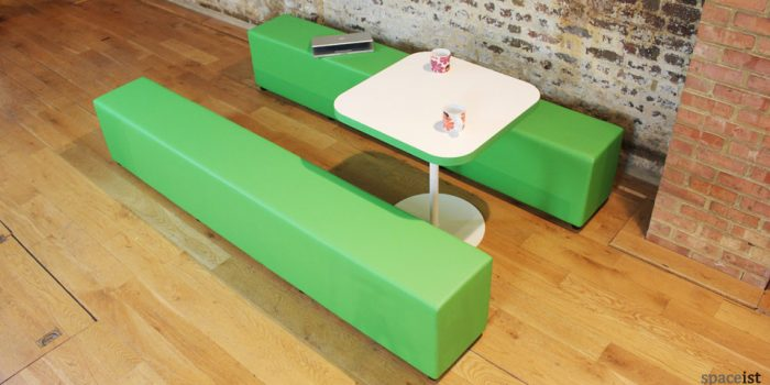 green vinyl long cube seats