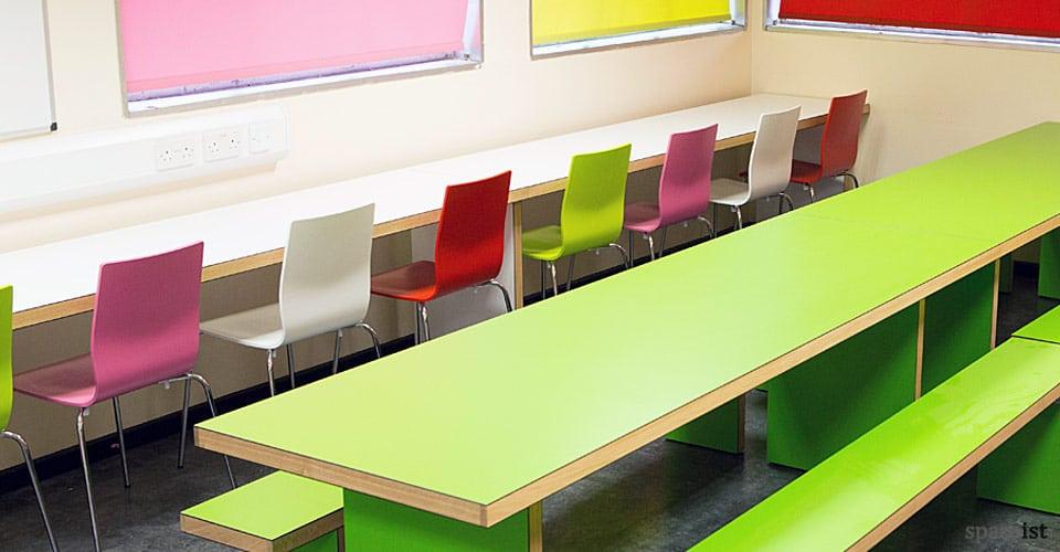 Bon White Long Study Table Solid Oak Edge Part 2