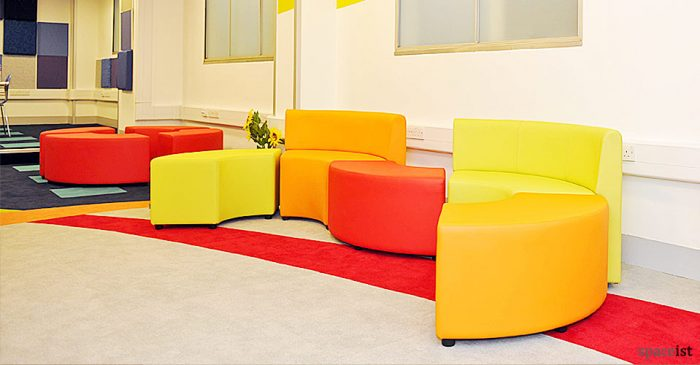 manchester airport bright modular cube seating