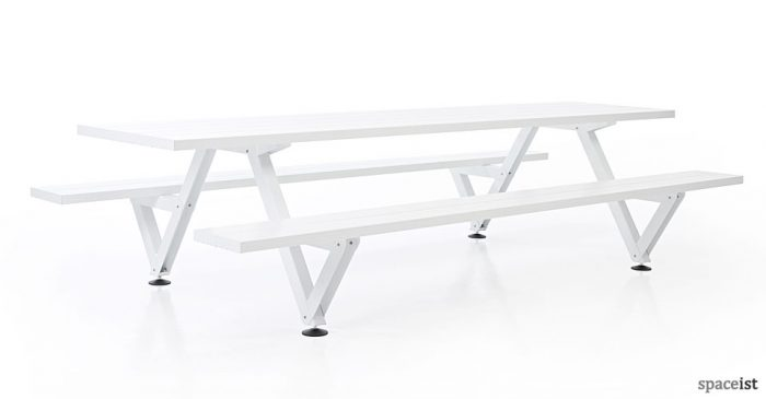 Marina long white picnic table and benches