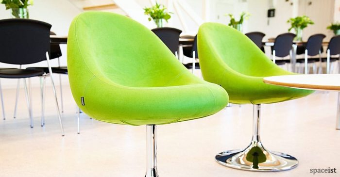 media green fabric reception chairs