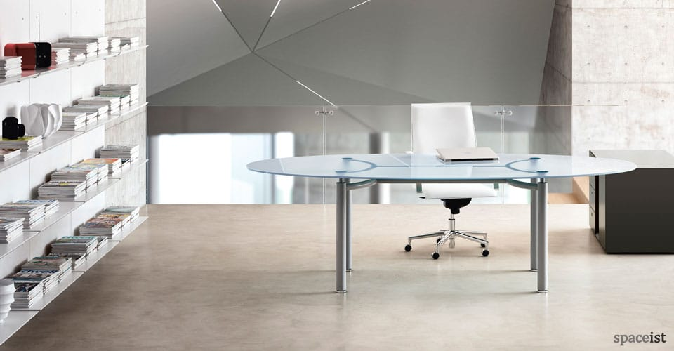 meta oval glass office desk