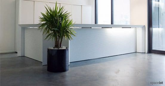 meta white reception desk