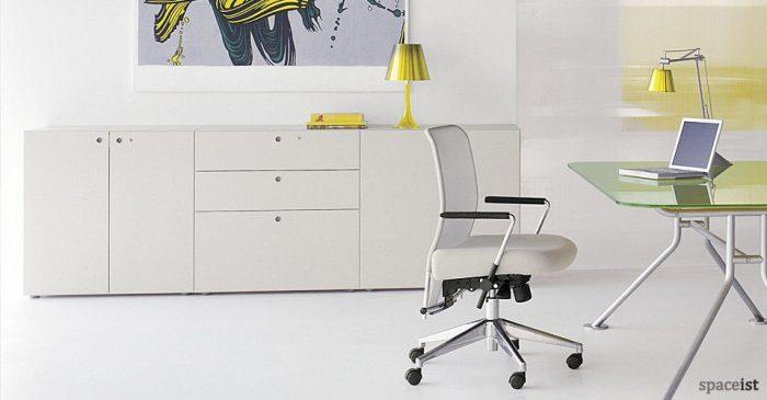 meta white meeting room storage