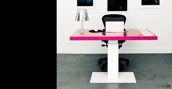 Milk standing desk with pink top