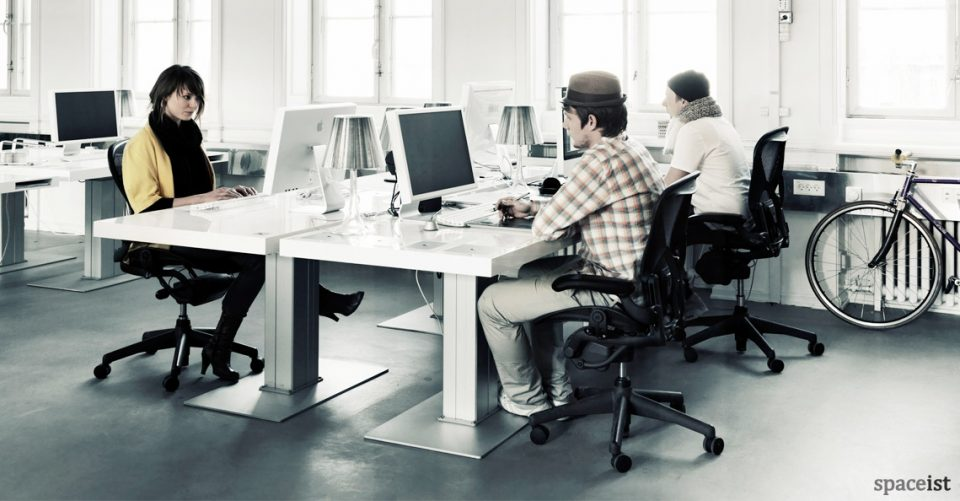 Milk standing desk group of four people