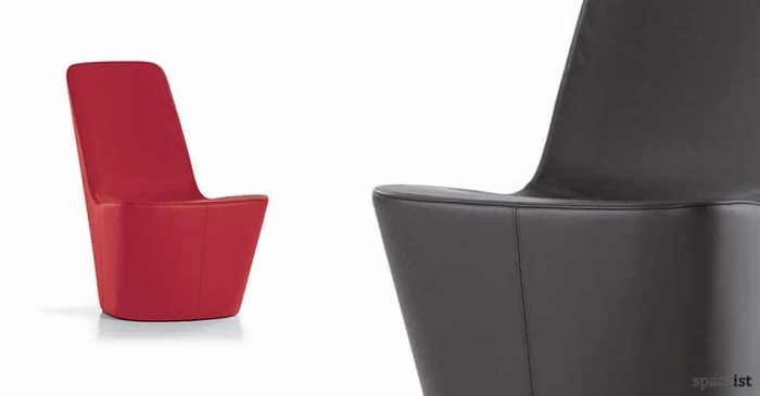 Monopod red and black leather reception chair