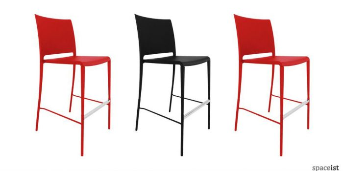 mya plastic red black orange bar stools