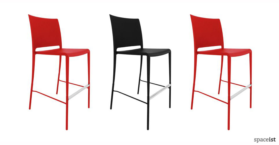 mya plastic red black orange bar stools