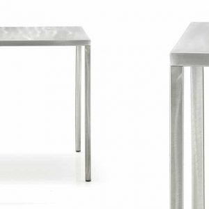 naked metal square cafe table