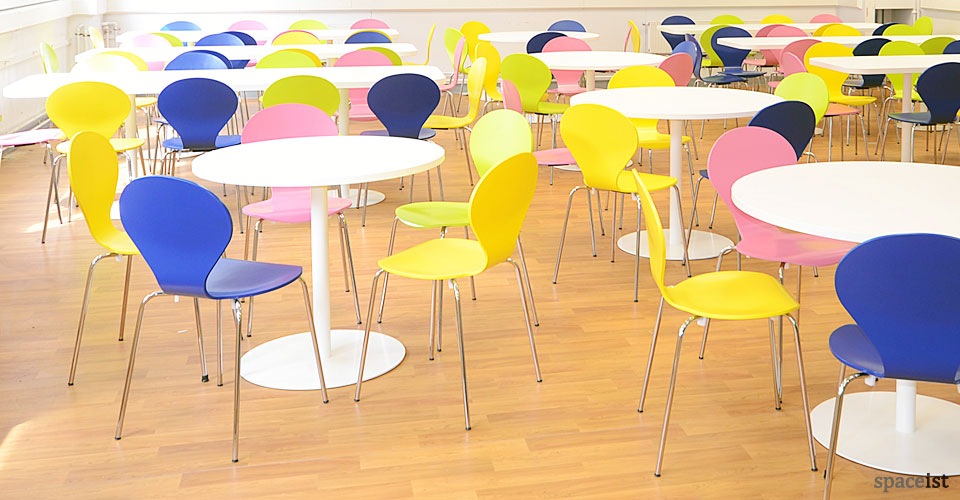 ondo yellow blue pink canteen chairs