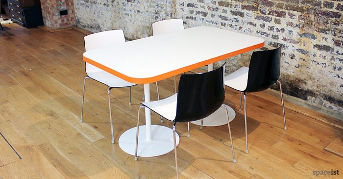 edge orange rectangular designer cafe tables