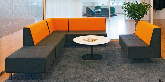 orange two tone modular reception sofa
