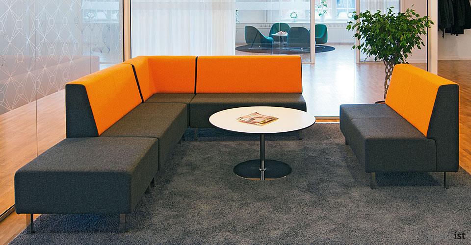 orange two tone modular reception sofa