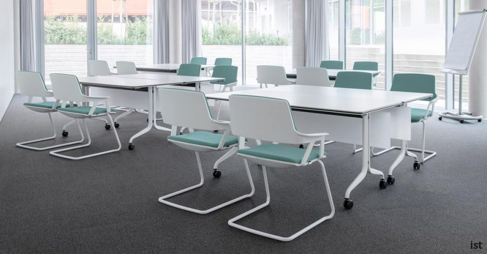 ovy grey, lime and blue cantilever modern meeting room chairs
