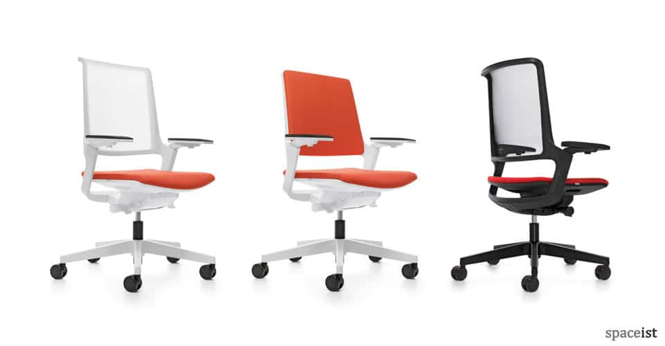 ovy white orange task chairs