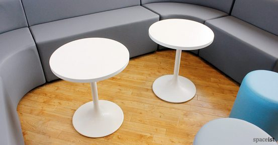 oxford college low white round tables