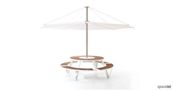 Pantagruel round picnic table with wood top