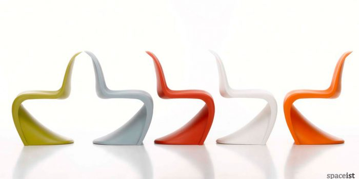 panton green grey red white and orange modern cafe chairs