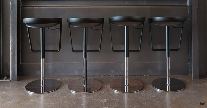 piano black curvy bar stool