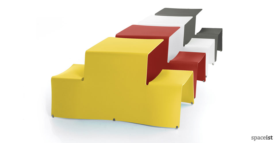 Yellow, red, white and grey Picnic table