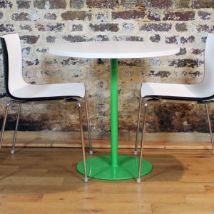 plain green round cafe tables 75cm dia