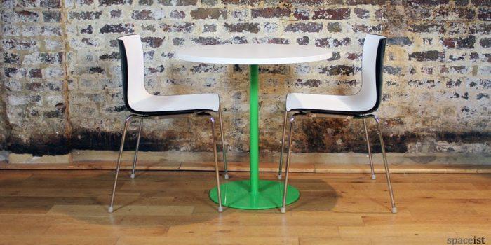 plain green round cafe tables 75cm dia