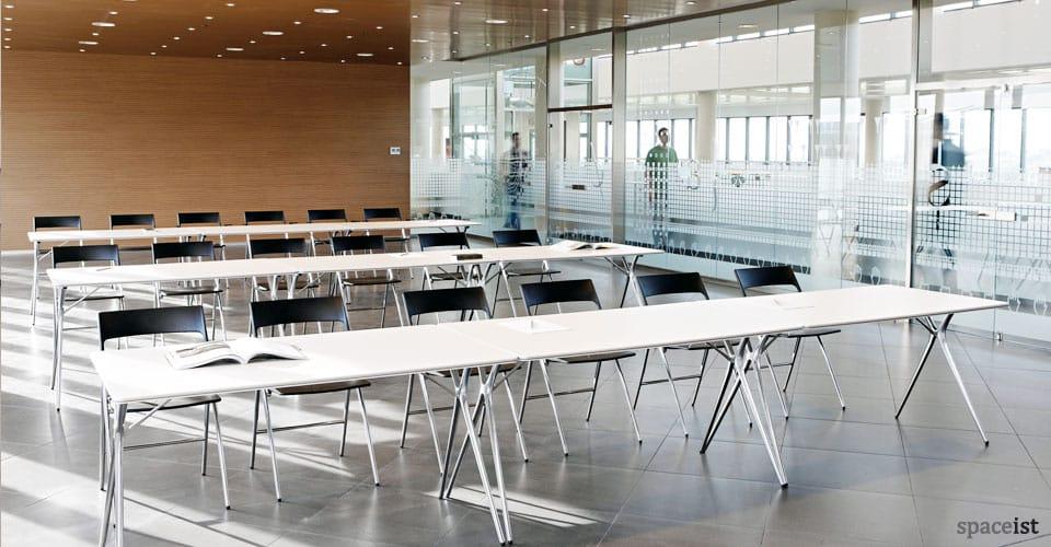 Plex white folding conference table
