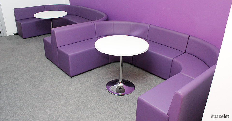 purple cubes U shape booth
