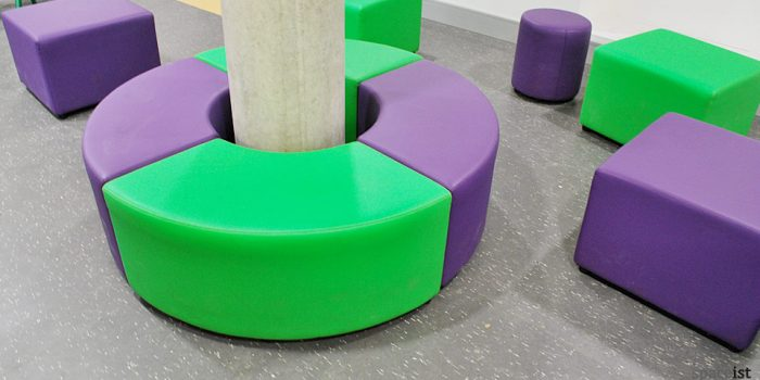 purple green vinyl column seat