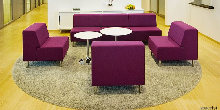 purple modular reception chairs
