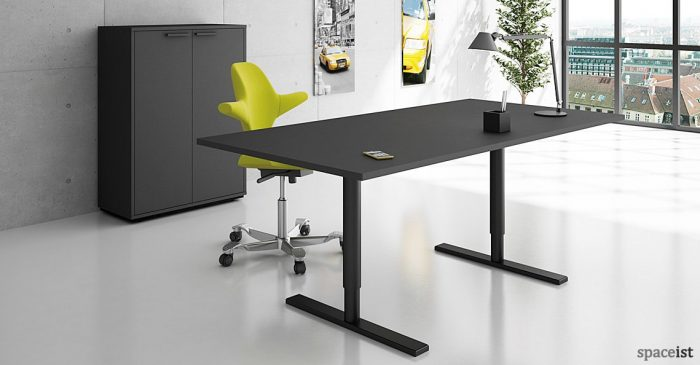 Q-10 black standing office desk