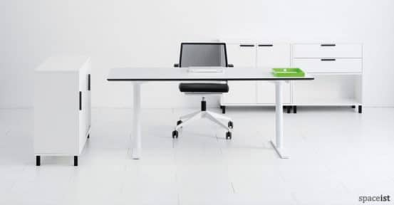 Q-10 standing office desk with a white leg and top