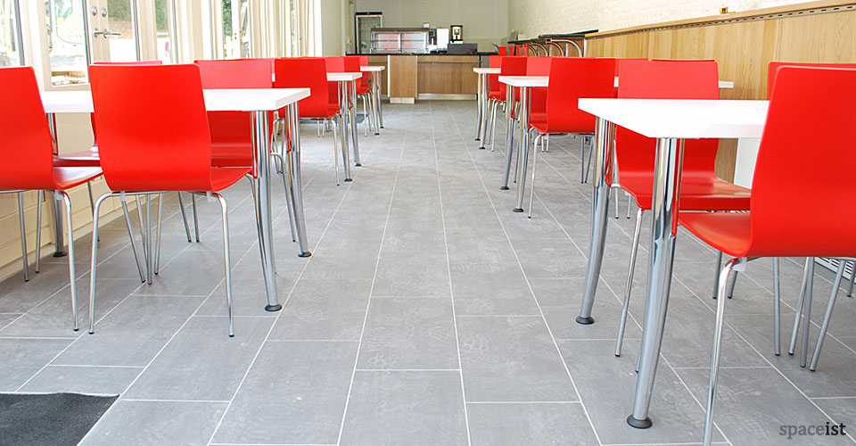 anno red modern cafe chairs with a chrome leg