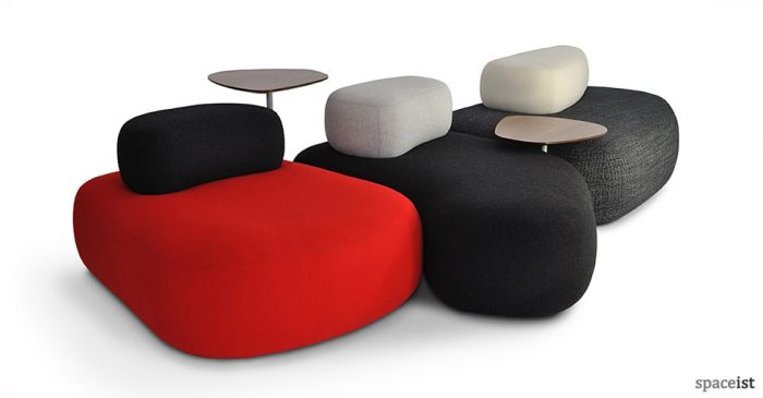 red black fabric pebble office reception sofas